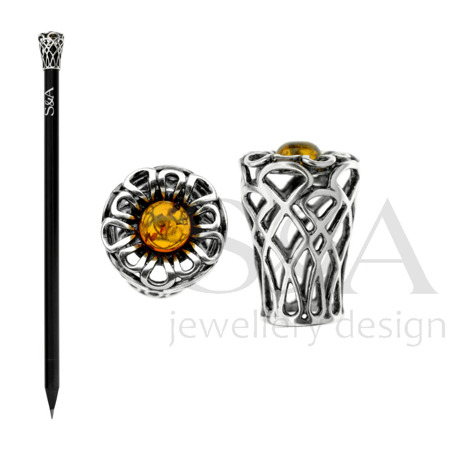 Pencil with silver element and amber